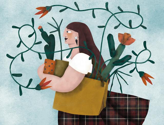 Ilustración septiembre. Mujer con plantas y cactus - Septembre illustration. A woman with plants and cactus