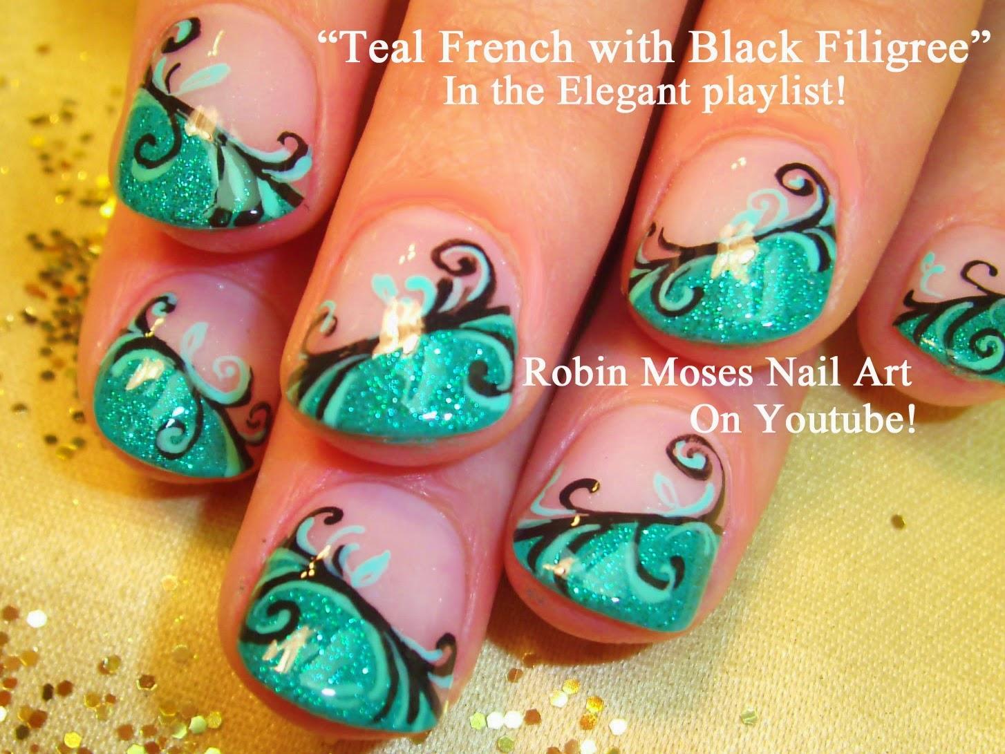 """Robin Moses Nail Art: """"teal nail tips"""" """"teal glitter nails ..."""
