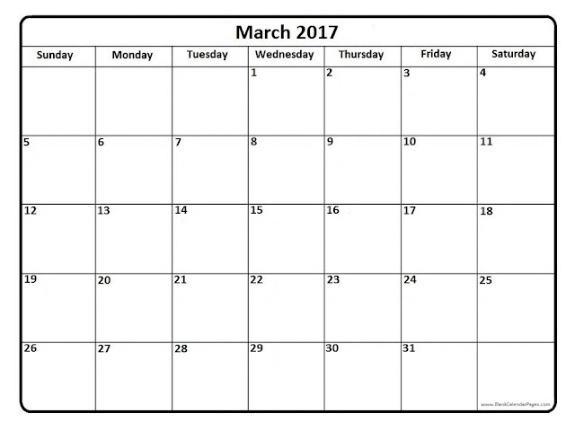 March 2017 Calendar | Printable Blank Templates - Printable