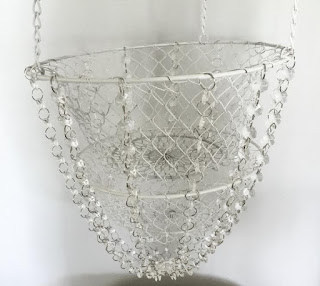 DIY chandelier with a vegetable basket