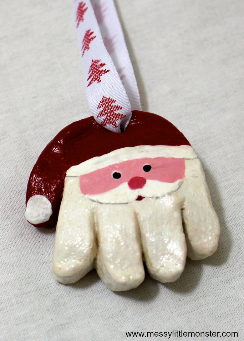 santa salt dough handprint ornament - the best santa crafts for kids