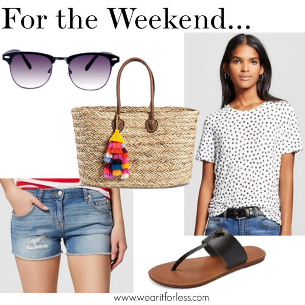 Who What Wear Women's Allover Printed Tee - Who What Wear TM • $17.99 Mossimo Supply Co. Women's Ainsley Thong Sandals - Mossimo Supply Co. TM • $19.99 Mossimo Women's Jean Shorts Light Wash • Mossimo • $19.99 Merona Women's Straw Tote Handbag - MeronaTM • Merona • $34.99 Women's Surf Shade Sunglasses - Black • $16.99