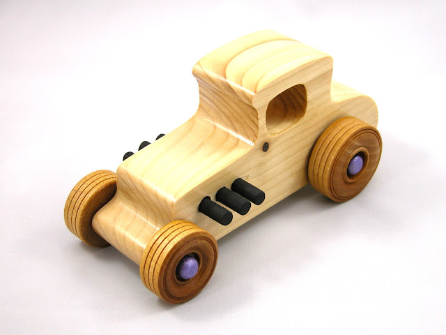 Wooden Toy Car - Hot Rod Freaky Ford - 1927 Ford Coupe - Model-T - Satin Polyurethane - Amber Shellac - Purple - Black - Pine