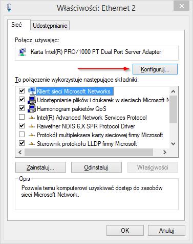 Właściwości połączenia dla karty Intel PRO/1000 PT Dual Port