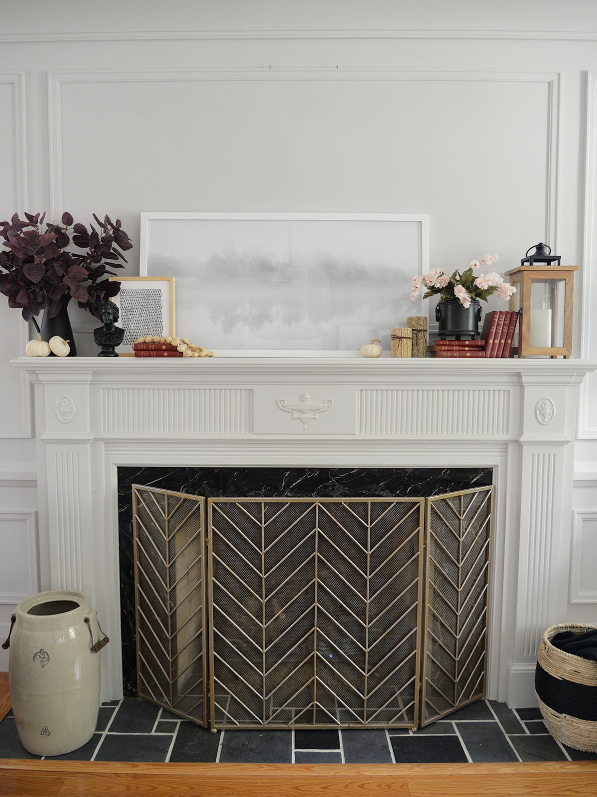 fireplace decor, fireplace mantel ideas, fall decorating ideas