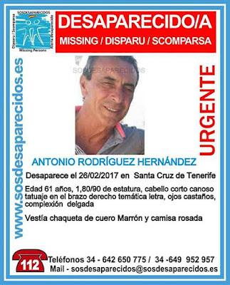Antonio  Rodríguez Hernández, hombre desaparecido en Santa Cruz de Tenerife