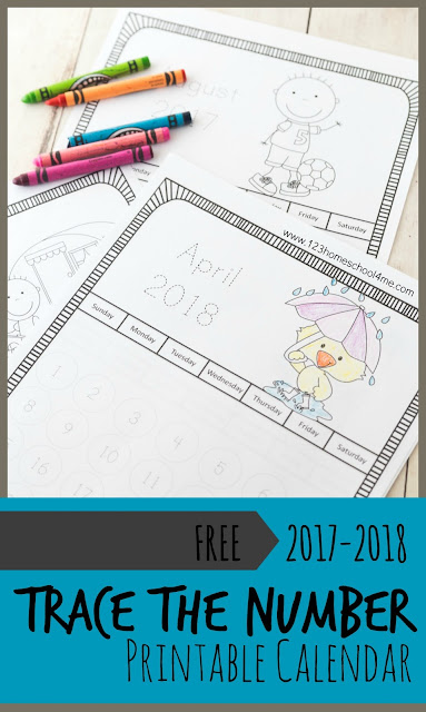 FREE 2017-2018 Trace the Number Printable Calendar in black and white perfect for preschool, prek, kindergarten, first grade, 2nd grade and more to track the school year, learn days, weeks, months, and years.