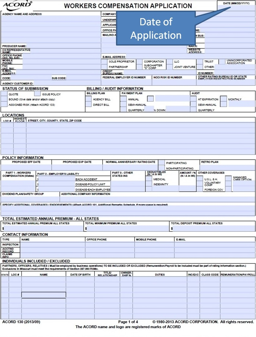 Fillable Acord Form 125