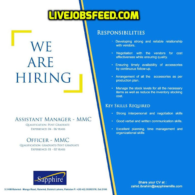 sapphire jobs careers assistant manager mmc officer mmc 2017 all new. Black Bedroom Furniture Sets. Home Design Ideas