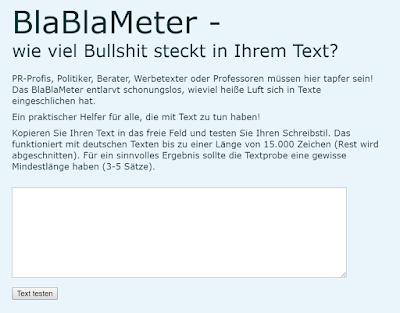 Das BlaBlaMeter analysiert die Textqualität.