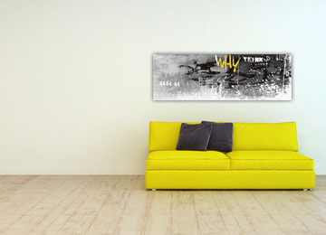 abstract, panoramic, wall art, black, white, yellow, modern, contemporary,