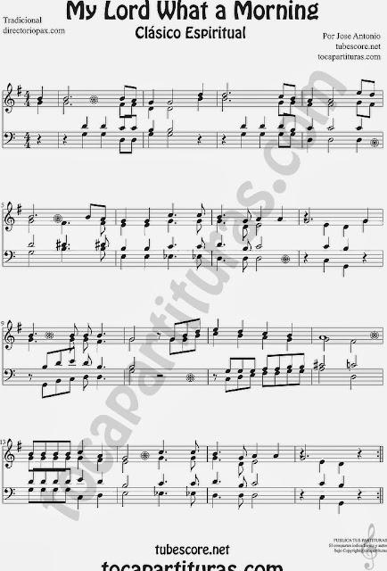 Partitura de My Lord What a Morning cuarteto de cuerdas a 4 voces. Clave de Sol para instrumentos afinados en do como Flauta, Violín, Oboe... y acompañamiento en clave de fa para tuba, trombón, chelo, fagot, bombardino... Traditional African-American Spiritual Sheet Music for flute violin oboe, cello, bassoon, tube, euphonium, trombone...