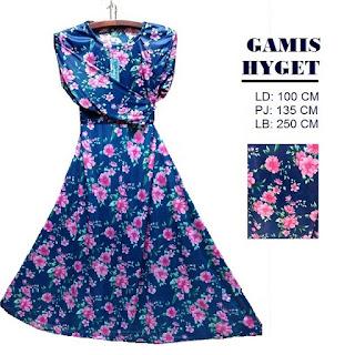 Gamis Hyget Biru Motif Bunga Besar Warna Pink