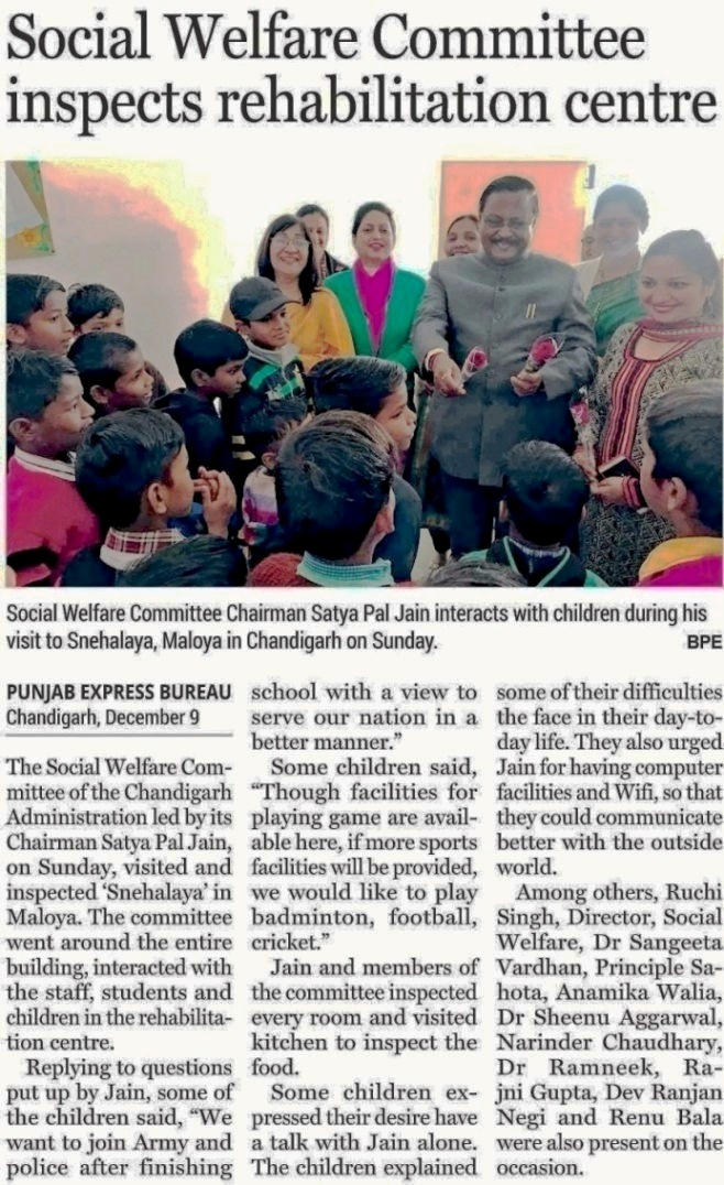 Social Welfare Committee Chairman Satya Pal Jain interacts with children during his visit to Snehalaya, Maloya in Chandigarh on Sunday