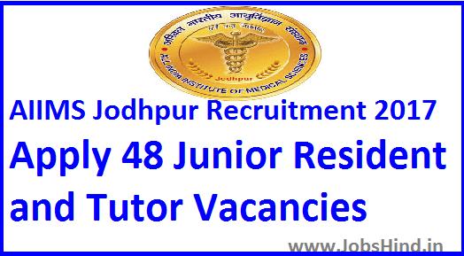 AIIMS Jodhpur Recruitment 2017