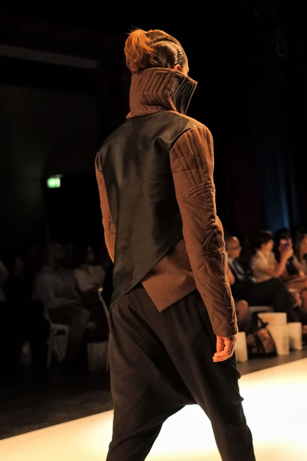 Ngoc Thuy Phung, quilt jacket, black pants back view - Menswear : Raffles Graduate Fashion Parade 2013 Photography by Kent Johnson.
