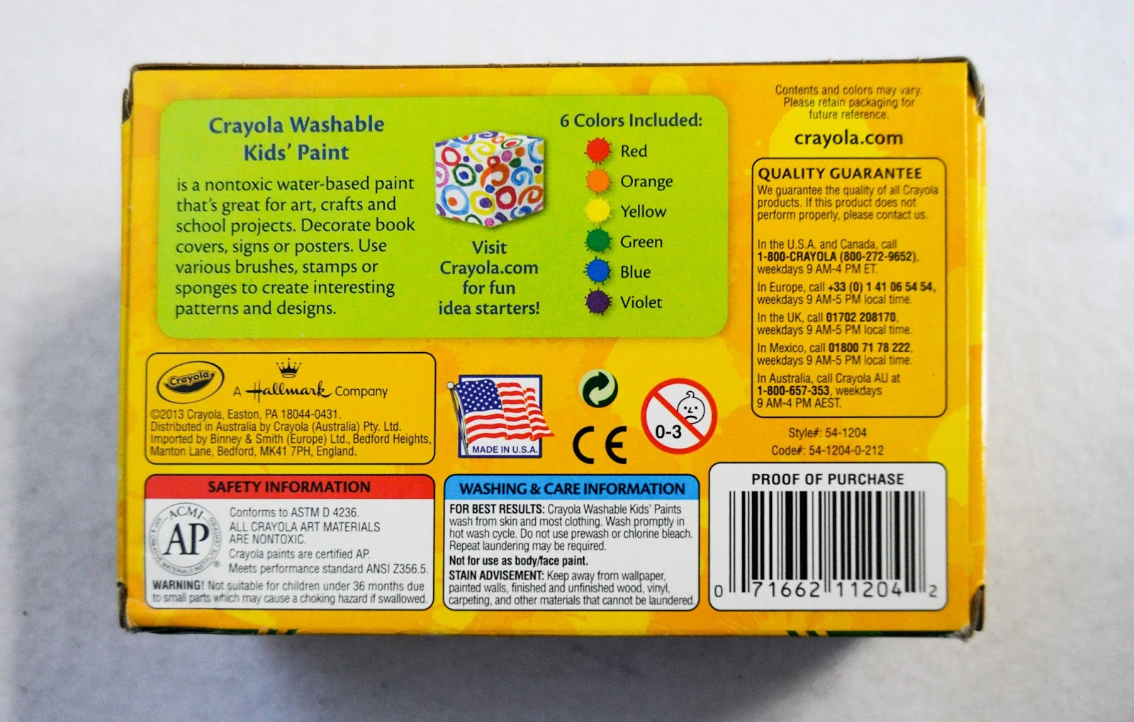Crayola Washable Kids Paint Whats Inside The Box Jennys Crayon Colored Pencils Long Isi 24 2014 Individual