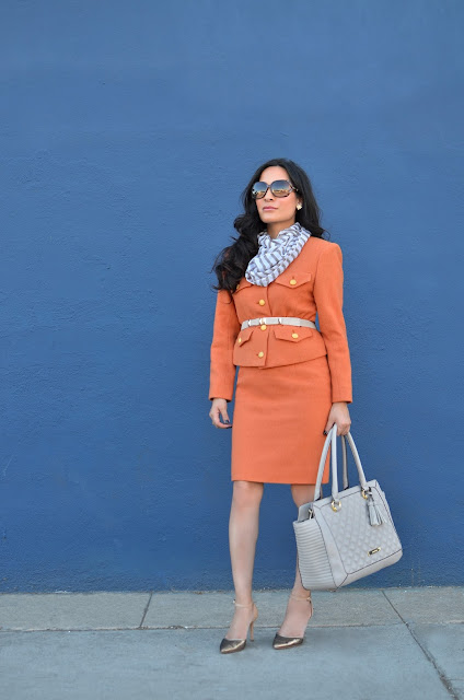 Anne Klein Taupe handbag, pumpkin spice orange vintage suit, striped scarf, gucci glasses, Enzo Angiolini gold metallic shoes