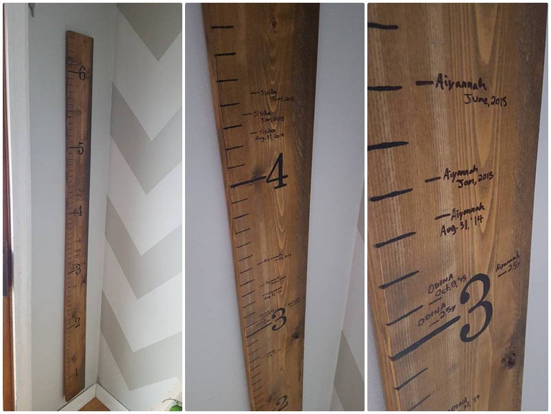 measured the existing heights on our wall and transferred them over to growth chart it fits perfectly small section of beside patio also  cold day easy diy ruler rh onacolddayspot