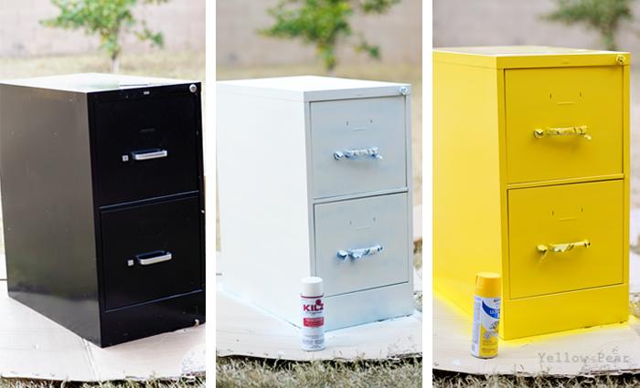 Yellow Pear Blog Diy Filing Cabinet Desk & spray paint filing cabinet | www.resnooze.com
