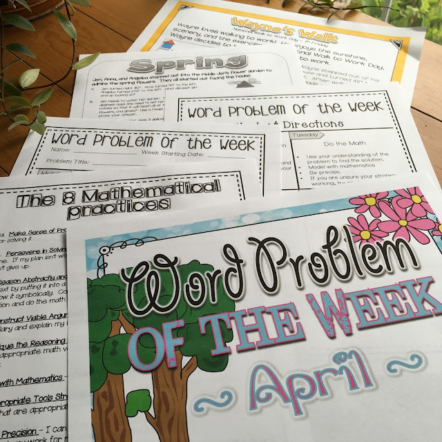 Word Problem of the Week supports students with the 8 mathematical practices and common core standards.  Perfect for the 4th and 5th grade math classroom.