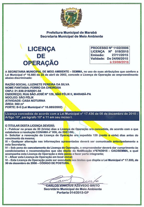 LICENÇA DE OPERAÇÃO - FORRO DA CHEIROSA - MARABÁ/PARÁ