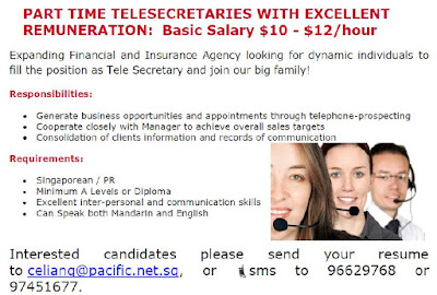 Job Ad for Part Time Telemarketer
