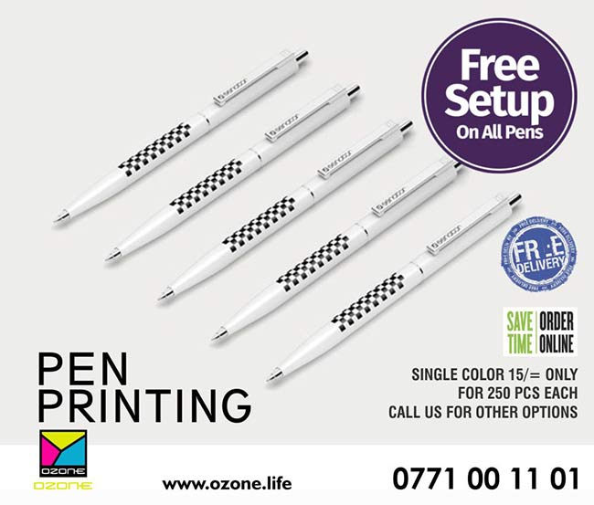 Pen Printing 15/= only*  Single Color Printing 15/= per pen Minimum 250 pcs  Please contact us for other color options, Small and Large quantities.  #pen #penprinting #screenprinting #corporategift #branding #colombo #srilanka #ozonebranding