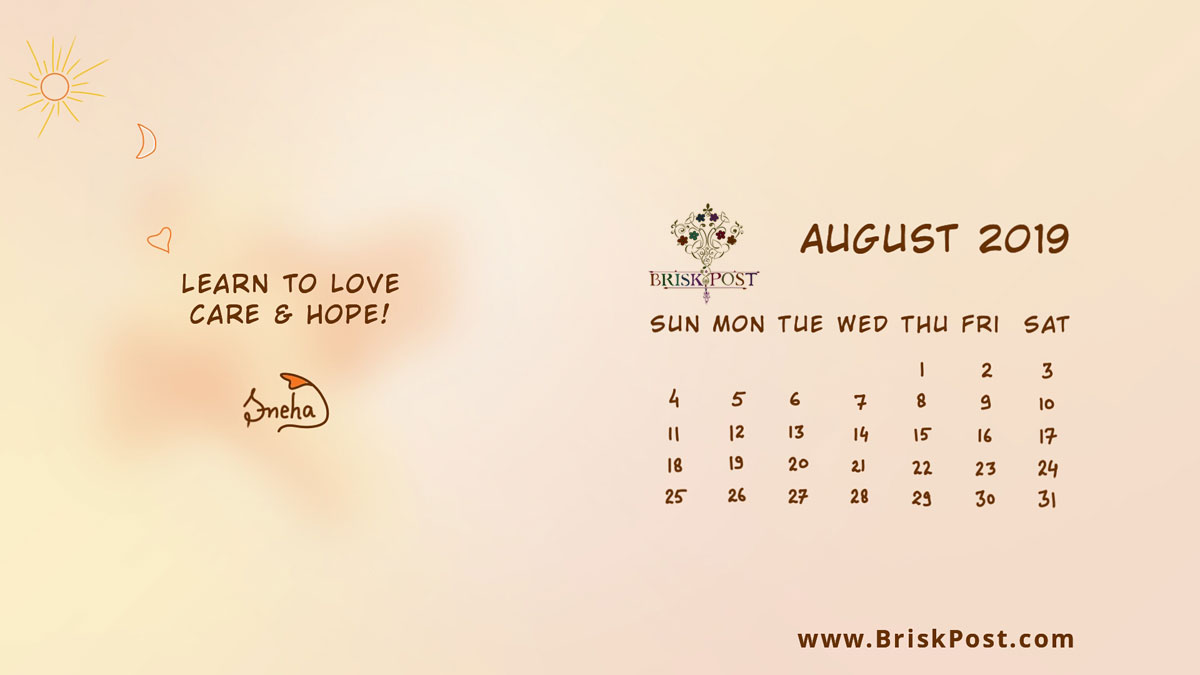 August 2019 calendar with sun, moon and heart illustration depicting love, care and hope