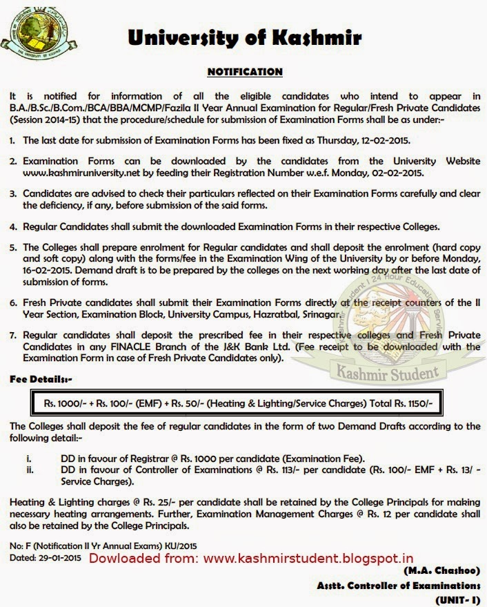 Notification regarding Examination Form submission for BG II Year, Annual 2014-15 | University of Kashmir
