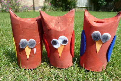 Toilet roll tube owl family