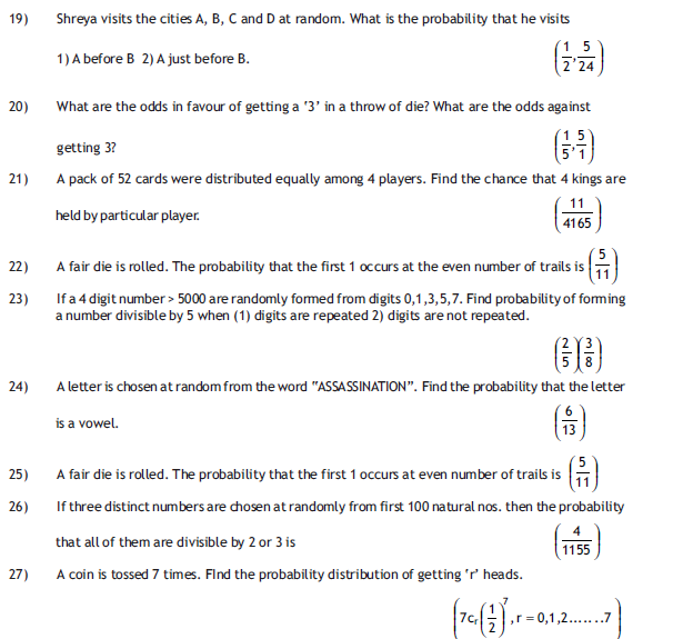 Probability HOT Questions  for board exam class 12 ,free study material for cbse maths,
