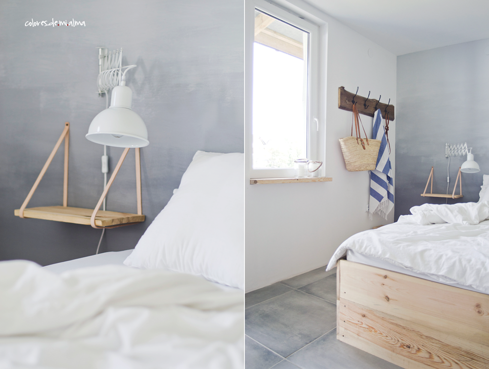 wood bed diy, ombre wall, night table, old wood, bedroom