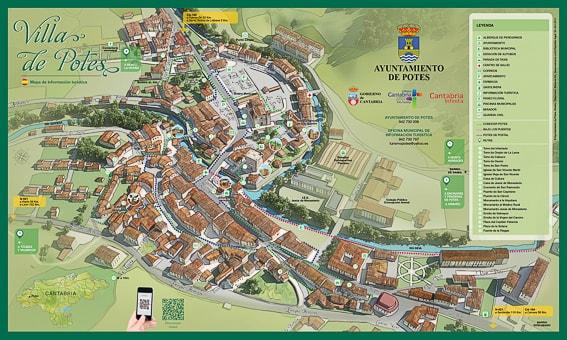 Mapa turistico de Potes. Disfrutando de Cantabria