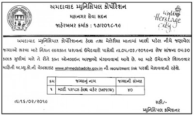 AMC Recruitment 2019  Multi Purpose Health Worker (MPHW) Posts