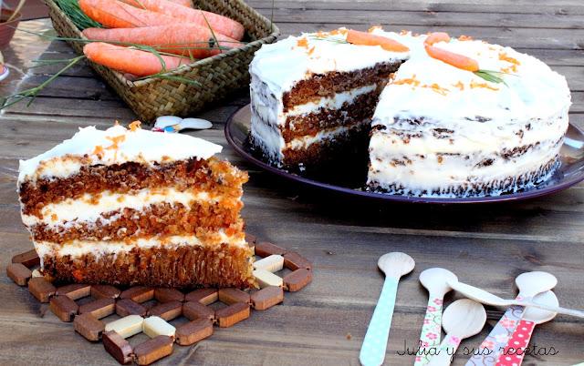 Carrot cake piña. Tarta de zanahorias y piña