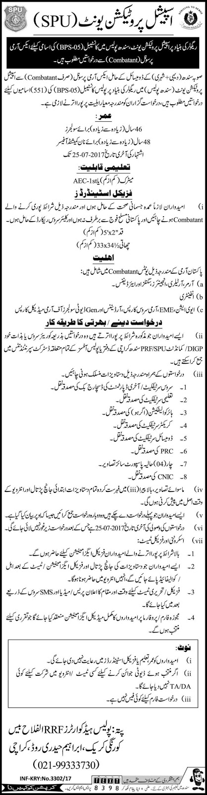 Constable Jobs in Police Special Protection Unit Sindh Jobs