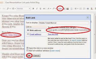 Cara Tambahkan Link pada Artikel Blog