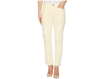 Paige Hoxton Straight Ankle 27 w/ Heavy Fray Hem in Faded Pastel Yellow Women's Jeans