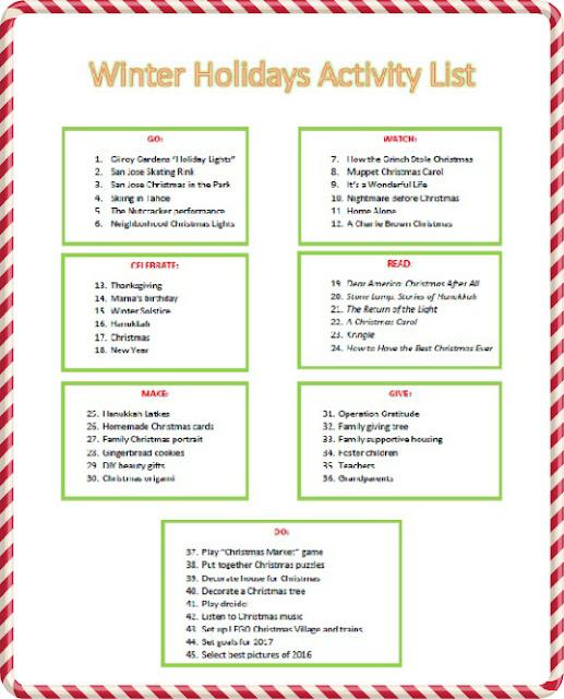 Winter Holidays Bucket List