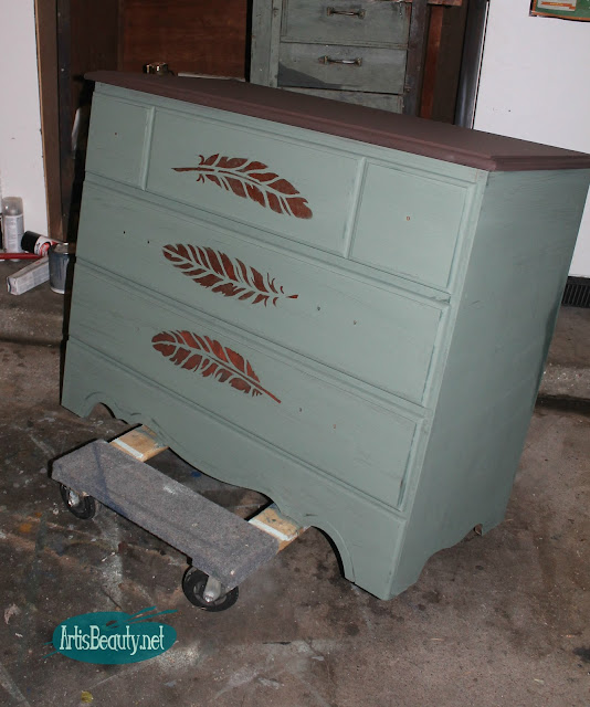 green and copper feather stenciled dresser makeover with copper hardware makeover