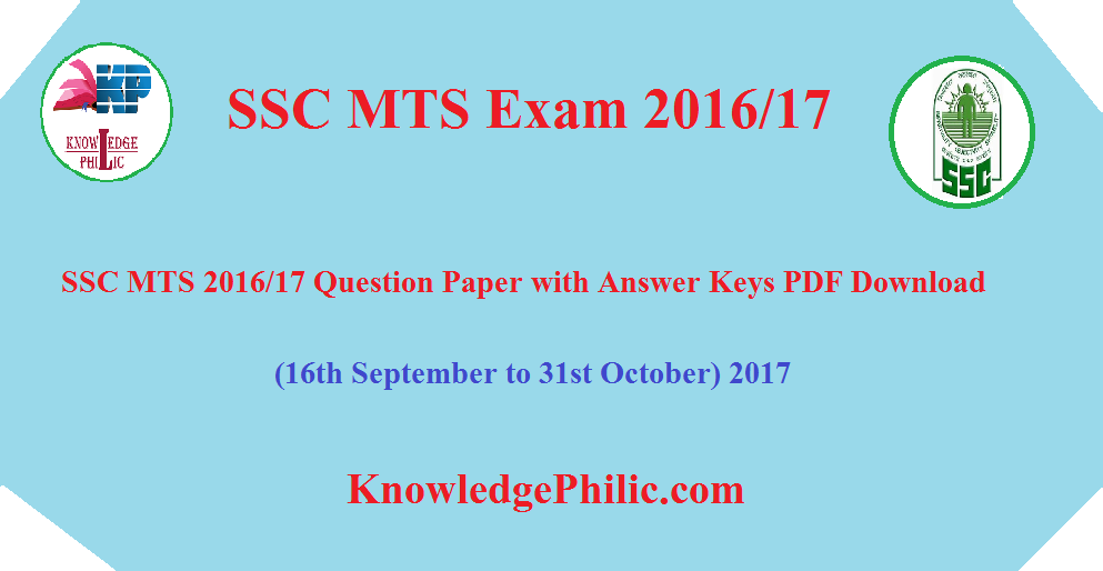 Ssc Mts Answer Key Pdf