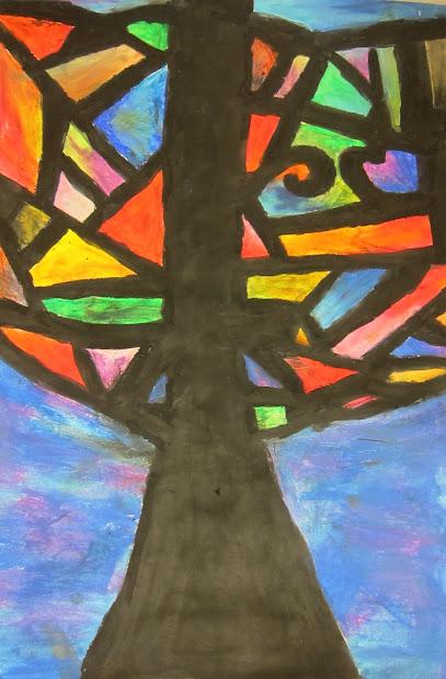 Art Basic- Teacher Abstract Oil Pastel Trees