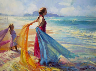 mujeres-en-panorámicas-vistas-oleo chocas-paisajes-naturales