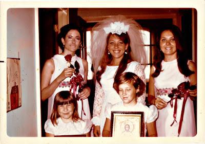 "Jill Weissich, Elena Vasilev, Mary ""Masha"" Goosev, Marie ""Rhea"" Thomson, and Natalia ""Tasha"" Thomson at the Holy Trinity Cathedral in San Francisco, California in June, 1970"