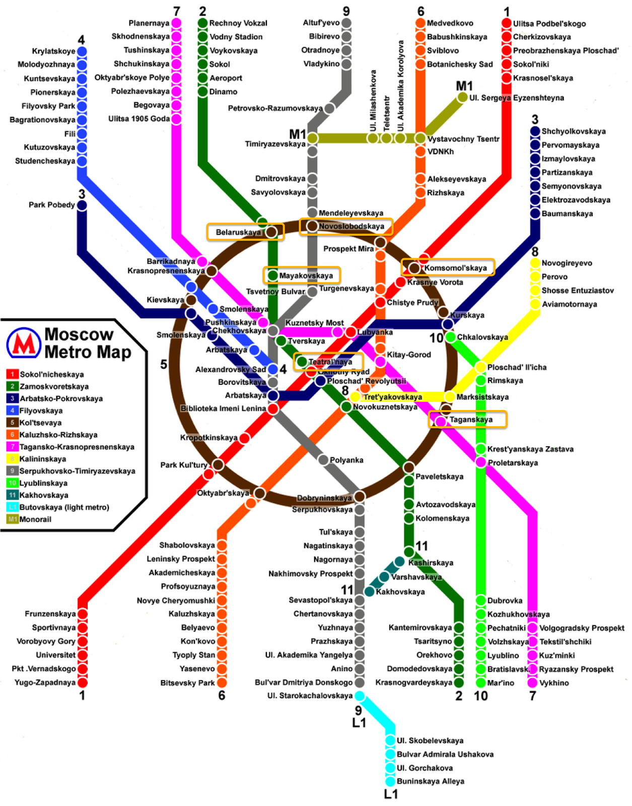 Mapa Metrô de Moscou