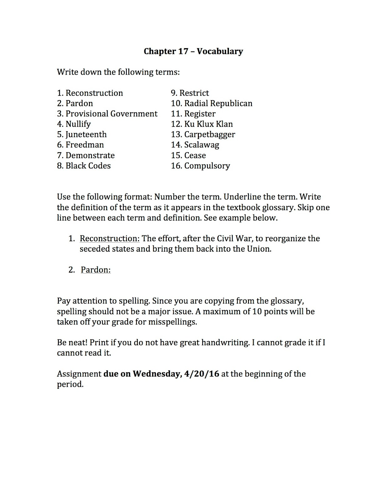 Ehms Texas History Chapter 17 Vocabulary And Lesson 1 Quiz Assignments Due Tomorrow