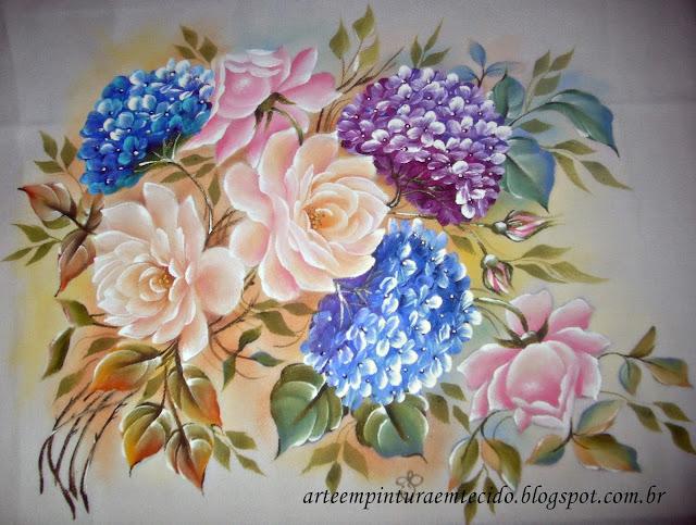 pano de copa com rosas pintadas