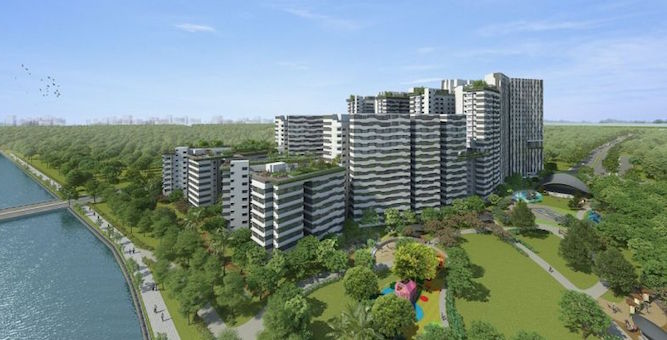 New waterfront district in Punggol with over 2,000 new flats launched in August 2018.