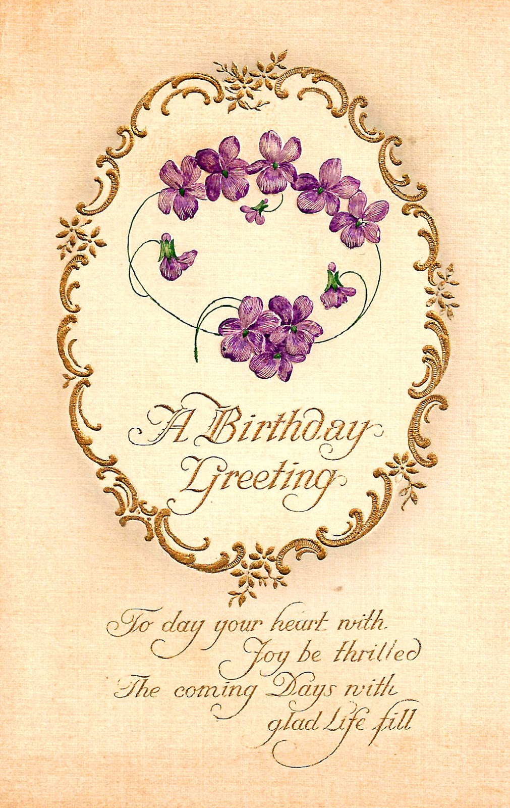 Antique Images Printable Free Birthday Greeting Violet Flower Gold